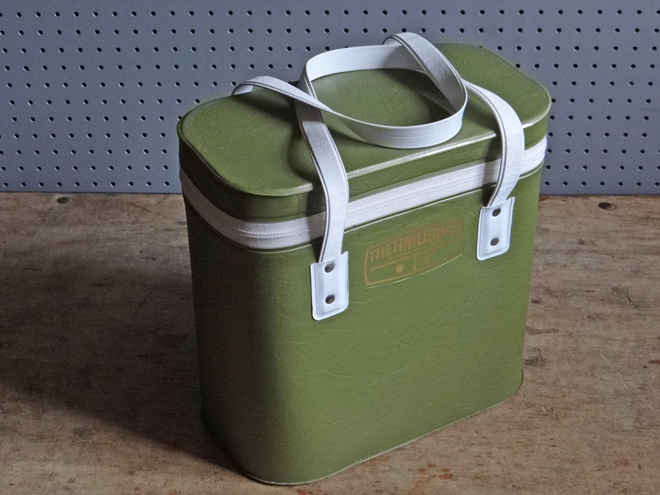 vintage olive green Thermos cool bag